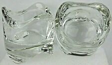 """Pair Of Crystal Clear Glass Votive Tealight Candle Holders Stack-able  2.3"""" New"""