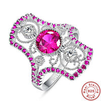 Women's Round Cut Ruby 100% 925 Sterling Silver Gemstone Ring Size L½ N½ P½ R½