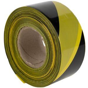 1 Roll 500 Metres Black&Yellow Non Adhesive Barrier Hazard Warning Utility Tape