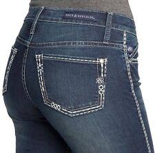 Rock & Republic R&R Jeans Size: 8 / 33 Low Rise Boot Cut Cotton Blend Blue NEW