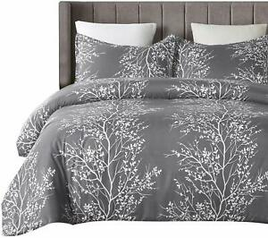 Vaulia Lightweight Microfiber Duvet Cover Set, Grey and White Floral Branches Pr