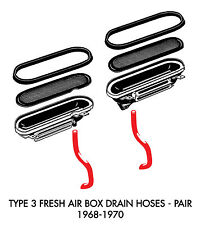 New VW Type 3 Fresh Air Box Drain Hoses Pair 1968-1970