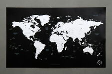 BG Black and White World Map Poster Unique Design Poster
