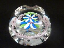 Perthshire Paperweight 1976C Miniature Faceted Flower w Cane Garland LE EC