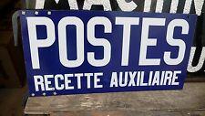 Objet de Métier Plaque Tôle émaillée Vintage des Postes Recette Auxiliaire 1960