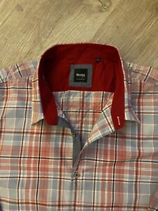 100% Genuine XXL Hugo Boss Red Blue Check Shirt Regular Fit 2XL