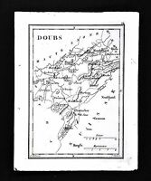 1833 Perrot Tardieu Miniature Map - Doubs - Besacon Pontarher Montbehard  France