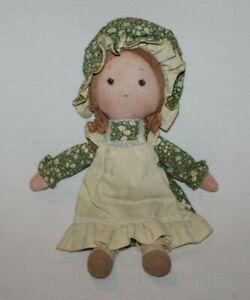 "Vintage Holly Hobbie 15"" AMY Rag Doll Dress & Bonnet Plush Toy Red Hair HTF Cute"