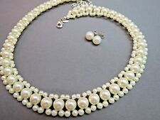 "SHB Faux Pearl Necklace 16"" - 20"" Post Earrings Set Creamy White Silver Tone Ext"