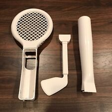 Wii Sports Accessories Bundle, Baseball Bat Tennis Racket Golf Club White Used