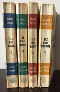 MAURICE DRUON -LES ROIS MAUDITS -ROMAN -4 VOLUMES -EDITIONS :DEL DUCA  1955