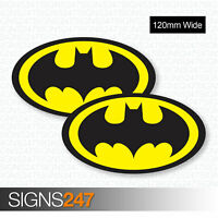 2 x BATMAN STICKERS 120mm Wide Logo Vinyl Van Motorbike Skateboard Car Stickers