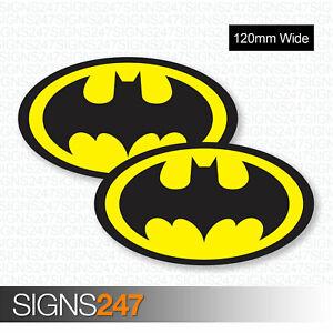 2 x BATMAN STICKERS 120mm Wide Logo Vinyl Van Motorbike Skateboard Car Stickers