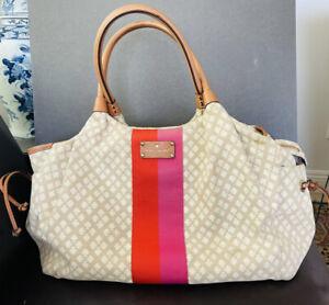 Kate Spade Stevie Tote Diaper Bag Shoulder Bag Beige Logo Canvas Leather 11.5x15