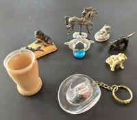 Vintage Antique Junk Drawer Lot Misc Animals Dogs Pewter Snake Dolphin Keychain