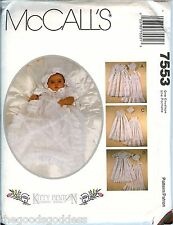 McCalls 7553 Infant Baby Christening Gown Christian Slip Bonnet pattern UNCUT FF