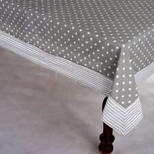 Tablecloth Cloth Grey White Spots Striped Edge Heavy Quality Cotton 150x250cm