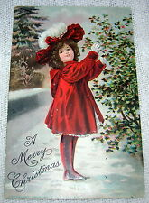 Vintage Girl in Red Hat and Coat Christmas Postcard