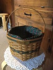 """Longaberger 1997 Snowflake Basket With Cloth And Plastic Insert. 6.5""""H X 9.5"""" D"""