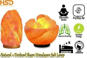 HSD Real Himalayan Firebowl + Natural Shape Salt Lamp Wooden Base Best XMAS Gift