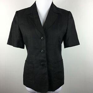 Talbots Size 6 Blazer Jacket Black Short Sleeve 3 Button Patch Pocket Linen