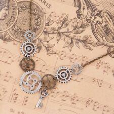 Vintage Retro Steampunk Antique Bronze Gear Key Pendant Statement Necklace FS