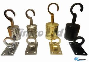 Decking Rope Fittings Rope Hook & Eye Plate Chrome Brass Satin Black Fixings