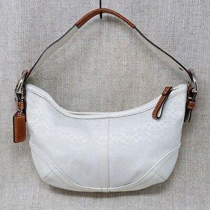 Coach Handbags Womens Small Soho Signature White Leather Hobo Shoulder Bag Purse