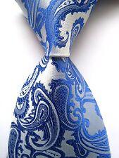 USA Classic Paisley Blue JACQUARD WOVEN 100%Silk Men's Tie Necktie