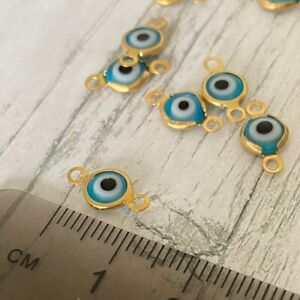 10 Pcs Gold Turquoise Evil Eye Connector Lampwork Beads Charms Charm