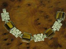 925 STERLING SILBER ARMBAND MIT TIGERAUGE / ECHTSILBER / 19,6 cm / 31,3g