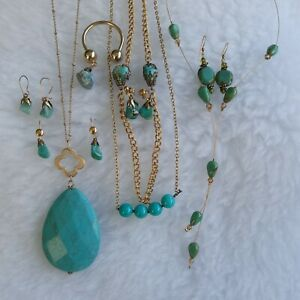 Natural & Man Made Aqua Stone Jewellery Lot