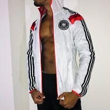 Rare Adidas Germany Woven Nylon Glanz Anthem Jacket White Red Sexy Small