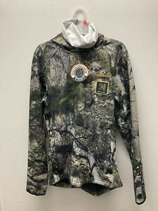 Mossy Oak Men's S (34-36) Camouflage Tech Hoodie w/Face Gaiter Zipper Pockets