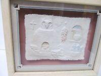 "FIGI GRAPHICS Signed Priscilla 3-D Wall Art Hand Cast Paper Framed 9""X""11"""