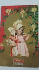 Vintage Post Card Christmas Girl w Candle Doll