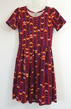 womens multi color LULAROE AMELIA dress fit flare zipper knit stretch casual XS