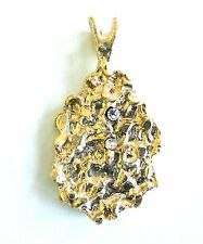 New Pendant Gold Plated Nugget Charm For Necklace With Clear CZ's Free Shipping