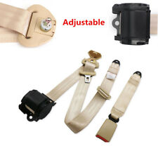 Universal Beige 3 Point Retractable Safety Strap Car Seat Belt Buckle Adjustable