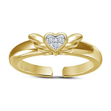 Butterfly Style Adjustable Toe Ring For Womens 14k Yellow Gold Over Cz Heart Mid