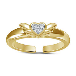 14k Yellow Gold Over CZ Heart Mid Butterfly Style Adjustable Toe Ring For Womens