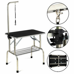 32'' Large Portable Pet Dog Cat Grooming Table Dog Show W/Arm  & Mesh Tray&Noose