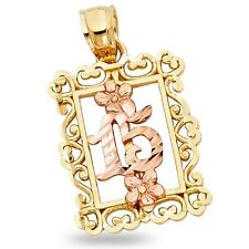 Years Flower Pendant Quinceanera Frame Charm Solid 14k Yellow Rose Gold 15