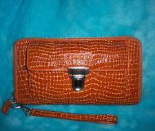 ISABELLA FIORE Brick Brown Leather Wristlet Wallet - Snake Embossed - ZIP AROUND