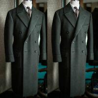 Men Dark Green Wool Long Overcoat Formal Outwear Trench Jacket Winter Blazer
