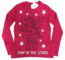 "GIRLS DISNEY LONG SLEEVE TOP RED GOLD ""JUMP IN THE STARS"" EX STORE 9-14Y NEW"