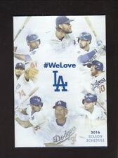 Los Angeles Dodgers--Kershaw--Gonzalez--Jansen--2016 Pocket Schedule--Coke