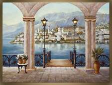 """Victor Zag - Archway to Como   - Street Scene - Giclee Reproduction  36""""x 48"""""""