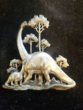 Jj pewter Rare Dinasour Brooch/pin Momma And Baby Brachiosaurus