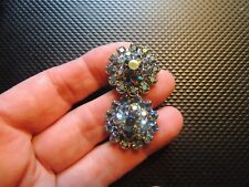 Vintage signed WEISS earrings, Aqua a/b rhinestones.  Rhodium plated, screw ons.